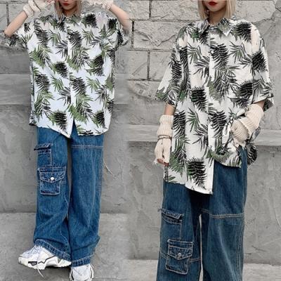 【韓國K.W.】(預購)休閒女人夏日漫遊花情外套襯衫-2色
