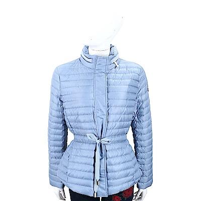 Michael Kors 絎縫可收納連帽天空藍抽繩綁帶羽絨外套