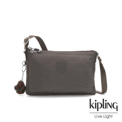 Kipling 極簡深卡其灰色雙內袋斜背小包-MIKAELA