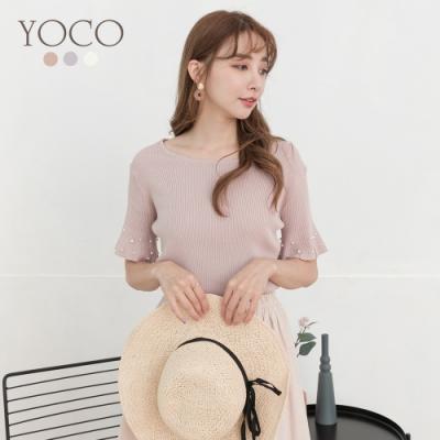 東京著衣-YOCO 輕甜華麗多色喇叭袖彈力羅紋上衣-S.M.L(共三色)