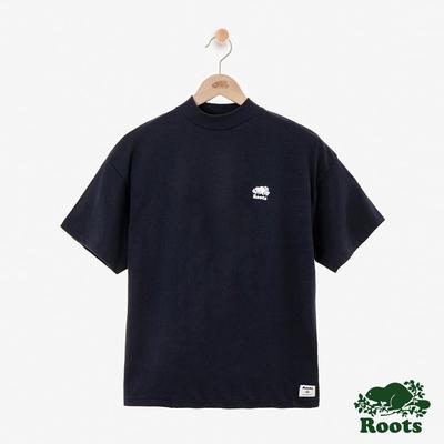 ROOTS女裝- 微高領短袖T恤-藍色