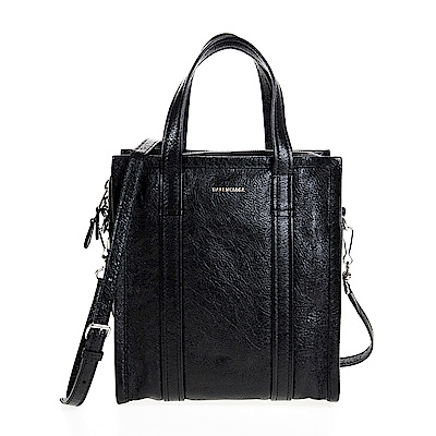 BALENCIAGA 新款BAZAR SHOPPER XS羊皮手提/斜背包 (黑色)