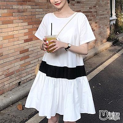 撞色寬鬆傘狀連身裙洋裝 白色-mini嚴選