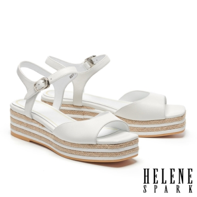涼鞋 HELENE SPARK 簡約清新羊皮厚底涼鞋-白