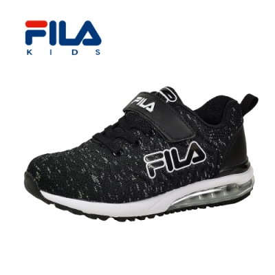 FILA 氣墊慢跑鞋 黑白 大童(6~12歲) 3-J815T-001