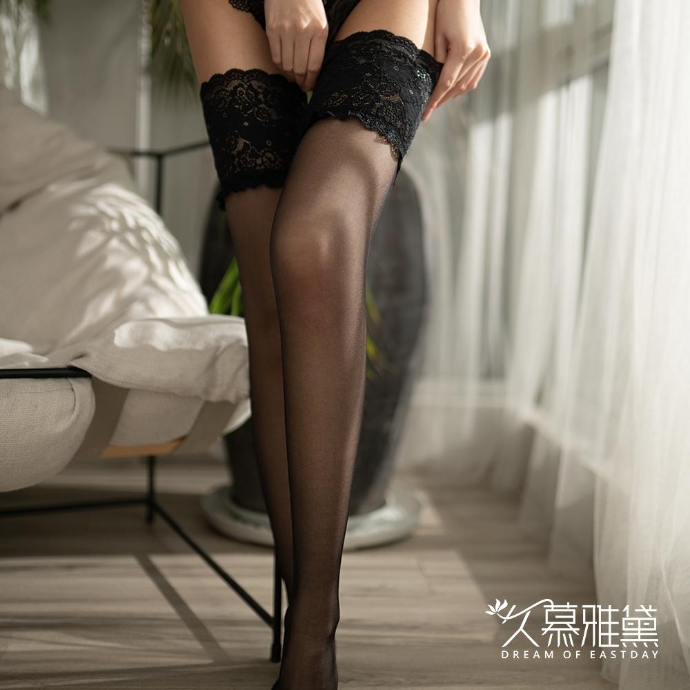 大腿襪 高彈力寬邊蕾絲性感大腿襪。黑色 久慕雅黛