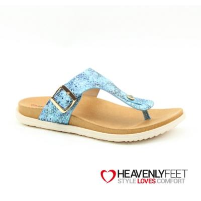 【HEAVENLY FEET】英國舒適品牌花卉波點印刷夾腳休閒拖鞋-ISABEL