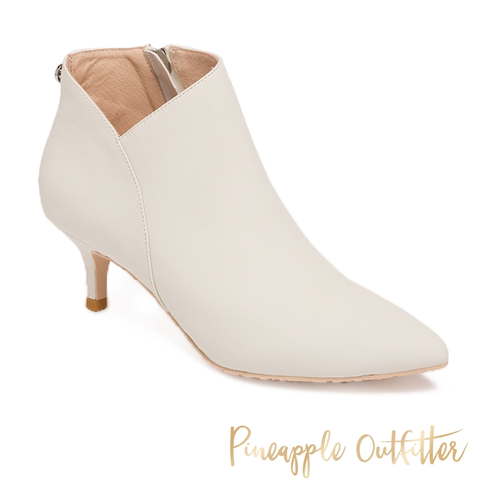 Pineapple Outfitter-BALLARI 迷人曲線真皮拉鍊低跟短靴-白色