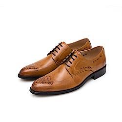 ALLEGREZZA-真皮男鞋-不凡品味-藝紋雕花質感德比鞋  焦糖色