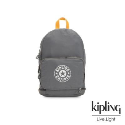 Kipling 質地灰品牌經典圓標二合一後背側背包-CLASSIC NIMAN FOLD