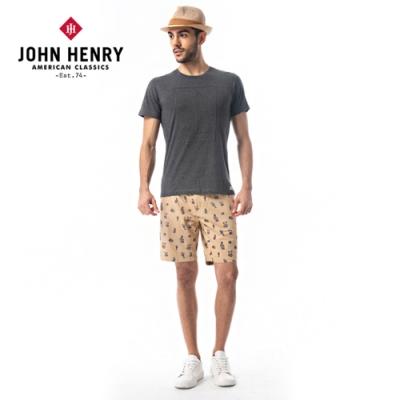 【JOHN HENRY】滿版手繪仙人掌印花短褲-卡其