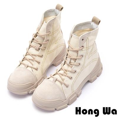 Hong Wa 復古綁帶縫線牛麂皮工程靴 - 米白