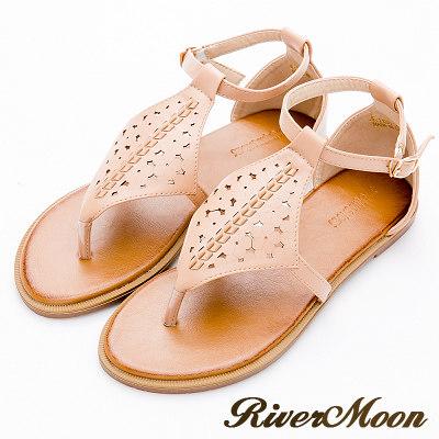 River&Moon大尺碼-韓版菱形雕花夾腳平底涼鞋-卡其杏