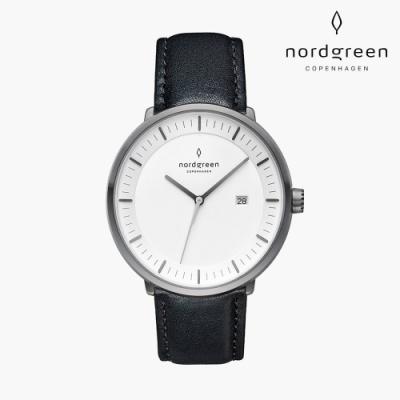Nordgreen Philosopher 哲學家 深空灰系列 極夜黑真皮錶帶手錶 40mm