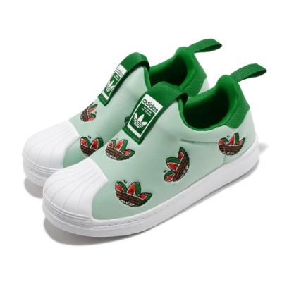 adidas 休閒鞋 Superstar 360 C 童鞋 愛迪達 三葉草 套入式 貝殼頭 白 綠 FY4368