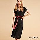 MOMA 雪紡壓褶腰帶洋裝