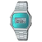CASIO經典時尚復古造型設計數位錶(A-168WEM-2)銀色X藍綠面/36.3mm