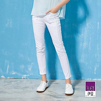 ILEY伊蕾 層次造型剪裁燙鑽棉質窄管褲(黑/白)
