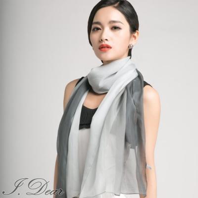 I.Dear-100%蠶絲頂級真絲素色漸層披肩/絲巾(灰色漸層)