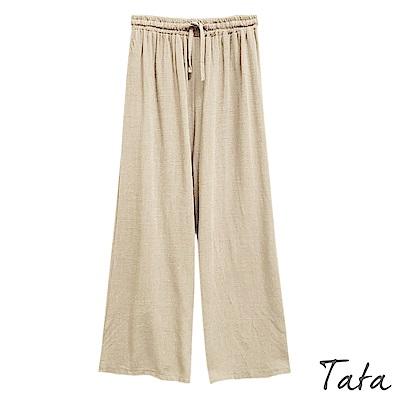 棉麻鬆緊腰綁帶寬褲 共三色 TATA