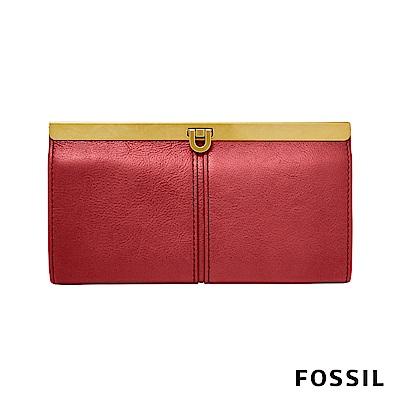 FOSSIL KAYLA 馬蹄型扣式手拿包-紅色