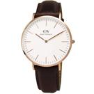DW Daniel Wellington現代俐落紳士皮革腕錶-玫瑰金框x棕/40mm