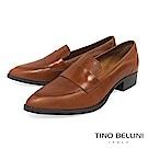 Tino Bellini 義大利進口簡約真皮尖楦低跟樂福鞋 _ 棕