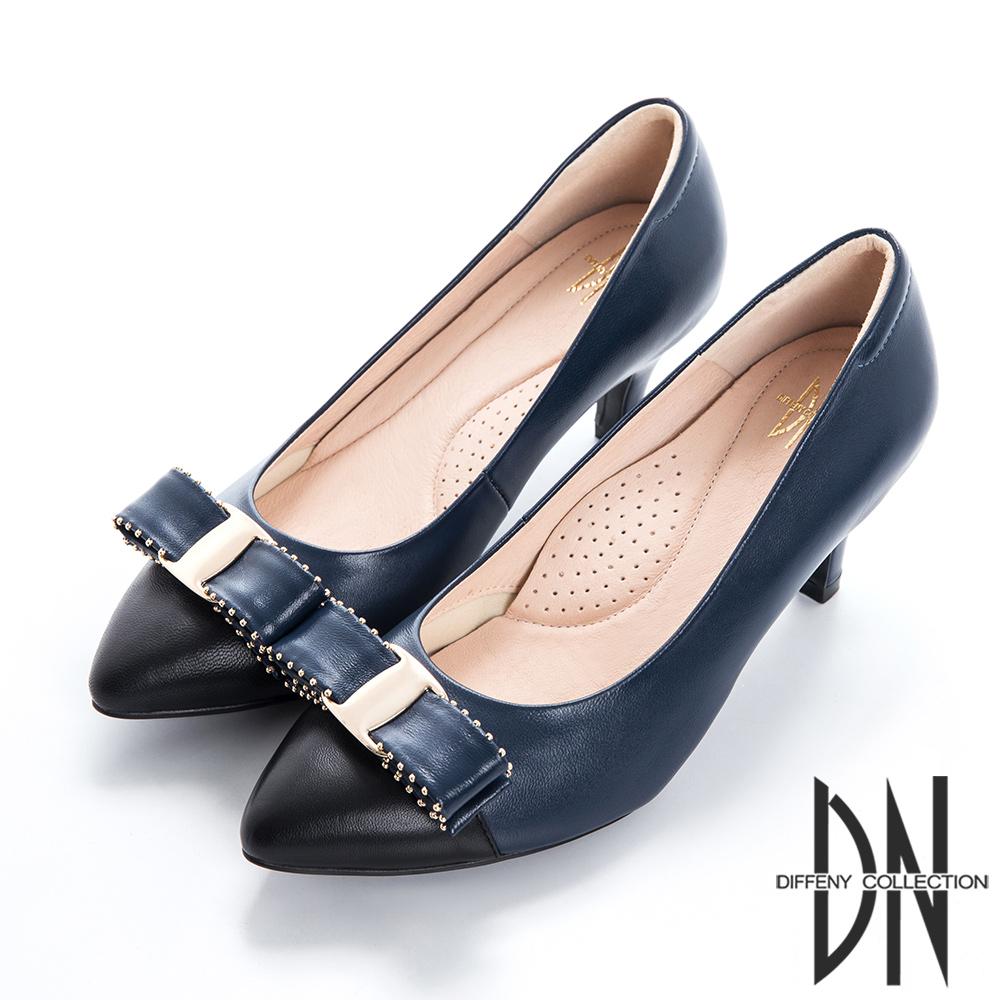 DN 都會時尚 立體飾釦雙色尖頭跟鞋-藍