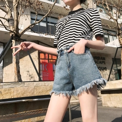 ALLK 高腰流蘇牛仔短褲 深藍色(尺寸27-31腰)