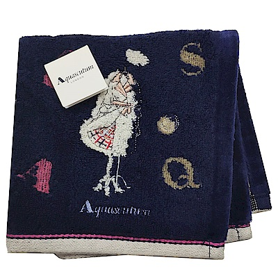 Aquascutum 經典品牌風衣圖騰字母LOGO刺繡小方巾(深藍底)