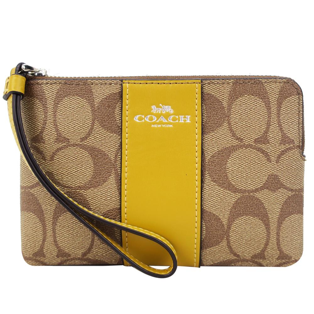 COACH 新款燙印馬車 PVC 直紋拉鍊手拿包(卡其亞麻黃)COACH