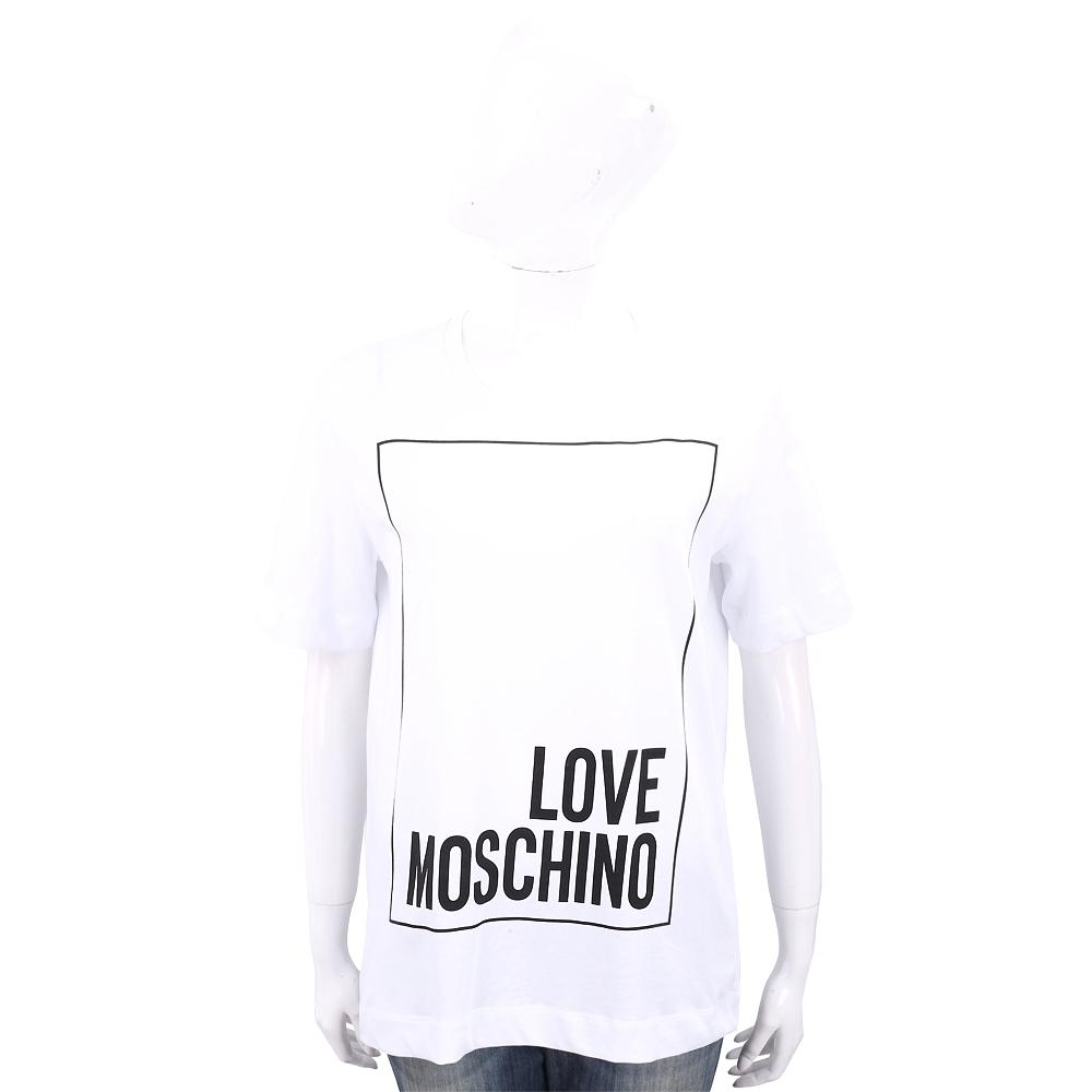 LOVE MOSCHINO 方框字母白色寬版棉質T恤