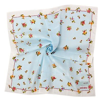 KENZO 經典氣質花卉純棉帕巾-淡藍色