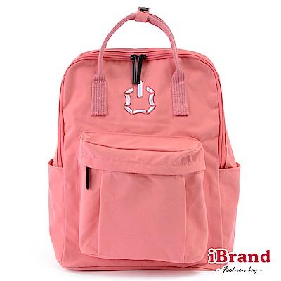 iBrand後背包 簡約素色輕旅行大開口手提後背包-粉色