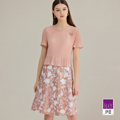 ILEY伊蕾 壓摺雪紡縷空花朵提花假兩件洋裝(粉)1212077056