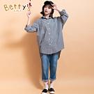 betty's貝蒂思 男友風清新格紋襯衫(黑白格紋)