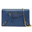 BALENCIAGA 金釦羊皮WOC手拿/鏈帶包(藍色)