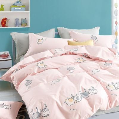 A-ONE 磨毛H系列-雪紡棉磨毛加工處理-加大床包兩用被組-輕甜貓咪