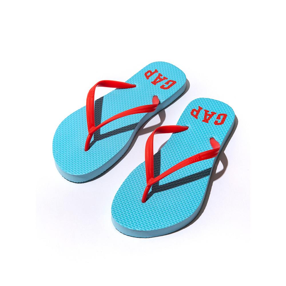 GAP 經典印刷文字人字拖鞋(女)-水藍色