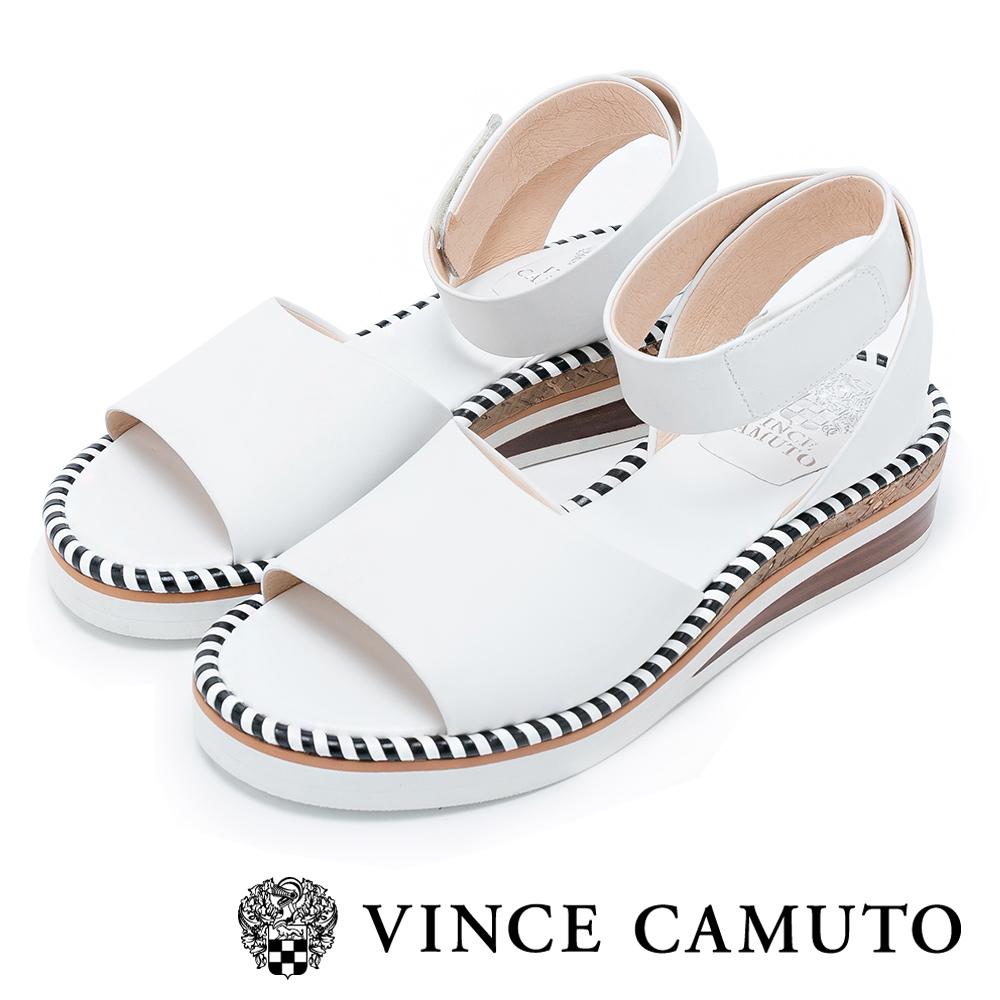 Vince Camuto 潮流心機 寬版繞踝滾邊後增高涼鞋-白色