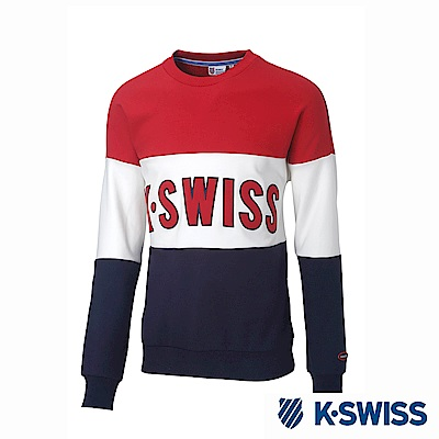 K-Swiss Round Sweat Shirts圓領長袖上衣-男-紅