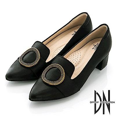 DN 簡約時尚 復古飾扣真皮擦色樂福跟鞋-黑
