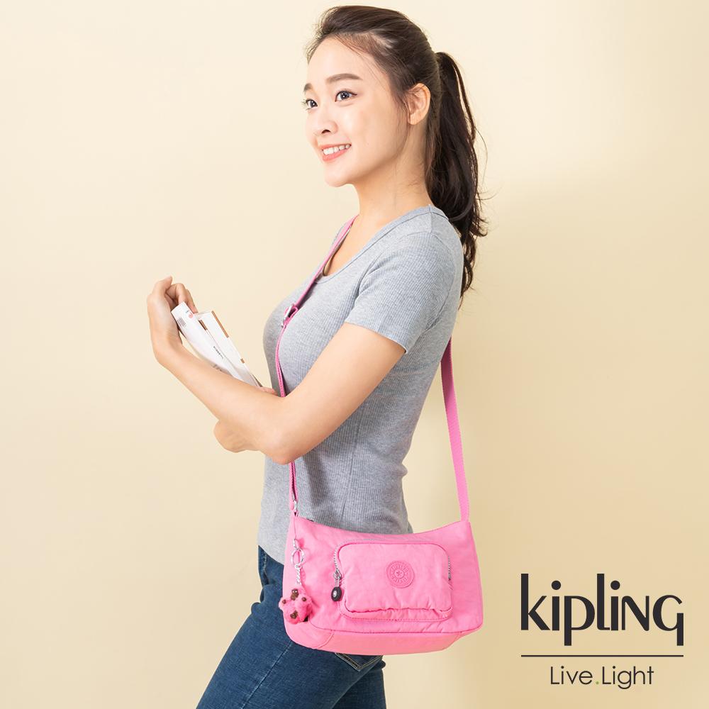 Kipling 甜美糖果粉雙拉鍊口袋側背包-SAMARA