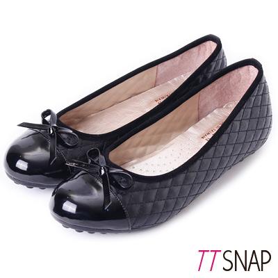 TTSNAP娃娃鞋-MIT小香風菱格紋平底鞋 黑