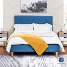 漢妮Hampton-莫里斯6尺布面拉扣雙人床架-藍