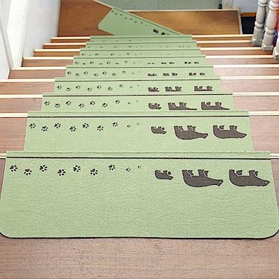 半島良品 可重覆黏貼樓梯止滑墊5入-三隻熊 綠色