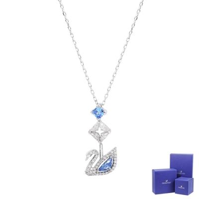 SWAROVSKI 施華洛世奇 125週年系列Dazzling Swan藍色水晶天鵝Y型銀色項鍊