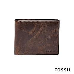 FOSSIL DERRICK 深棕色真皮帶翻轉證件格RFID男夾