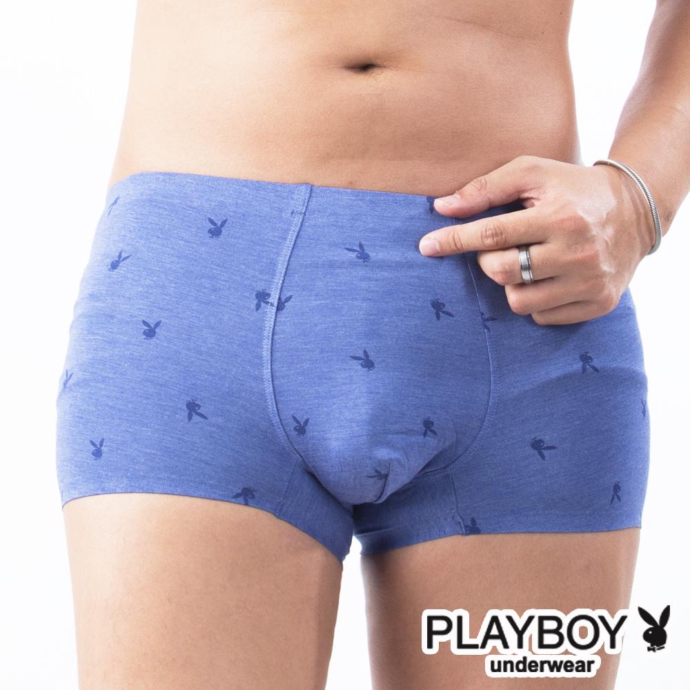 PLAYBOY 兔頭LOGO印花裸感無痕合身四角褲平口褲-單件-藍