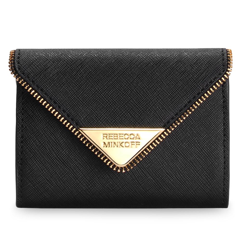 Rebecca Minkoff 三角金屬LOGO鑰匙圈釦式零錢包-黑色